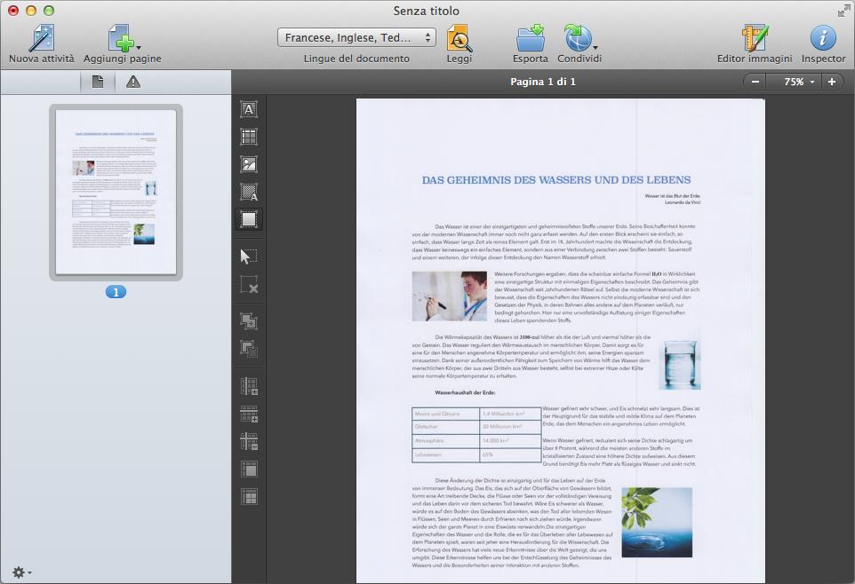 Gestire le pagine del documento, correggere le aree di riconoscimento