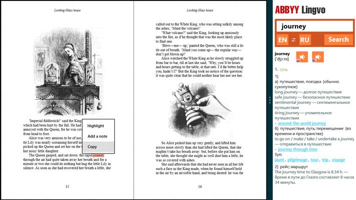 Читаете книгу в оригинале? Прикрепите Lingvo рядом с книгой, чтобы сразу видеть и перевод, и текст произведения.